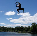 summer rope swing in water