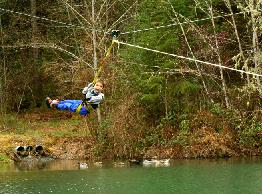 Zip Line Carries Boy over Water